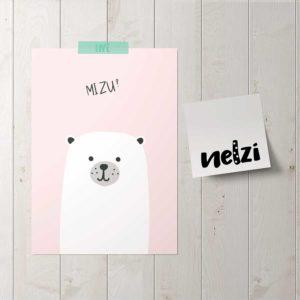 medve poszter mizu pink